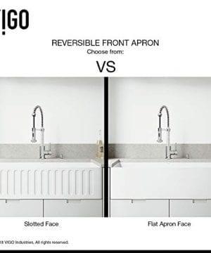VIGO 36 Inch Farmhouse Apron Single Bowl Matte Stone Kitchen Sink 0 2 300x360