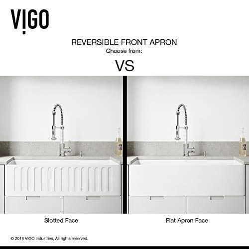 VIGO 36 Inch Farmhouse Apron Single Bowl Matte Stone Kitchen Sink 0 2