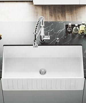 VIGO 36 Inch Farmhouse Apron Single Bowl Matte Stone Kitchen Sink 0 300x360