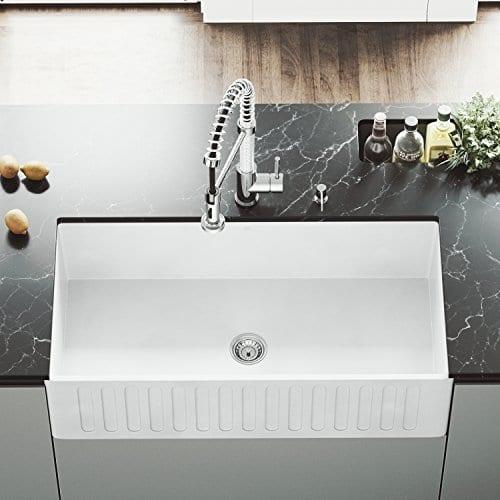 VIGO 36 Inch Farmhouse Apron Single Bowl Matte Stone Kitchen Sink 0
