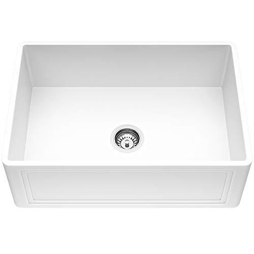 VIGO Crown VGRA2718SF 27 Inch Farmhouse Kitchen Sink Apron Front Single Bowl Composite Solid Surface Matte White Finish 0 0