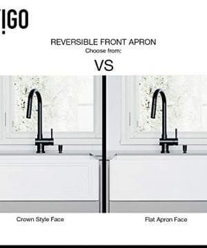 VIGO Crown VGRA2718SF 27 Inch Farmhouse Kitchen Sink Apron Front Single Bowl Composite Solid Surface Matte White Finish 0 1 300x360