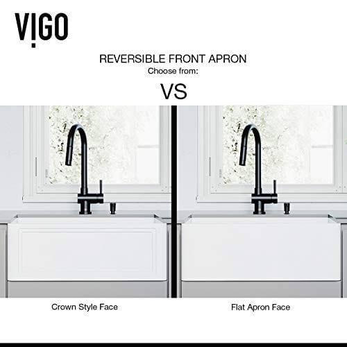 VIGO Crown VGRA2718SF 27 Inch Farmhouse Kitchen Sink Apron Front Single Bowl Composite Solid Surface Matte White Finish 0 1