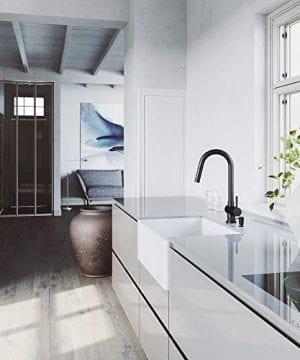 VIGO Crown VGRA2718SF 27 Inch Farmhouse Kitchen Sink Apron Front Single Bowl Composite Solid Surface Matte White Finish 0 2 300x360