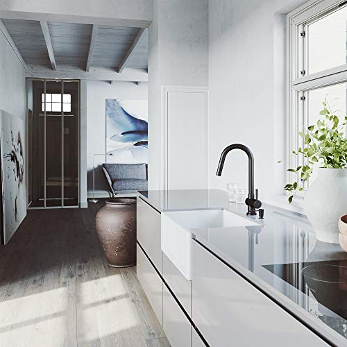 VIGO Crown VGRA2718SF 27 Inch Farmhouse Kitchen Sink Apron Front Single Bowl Composite Solid Surface Matte White Finish 0 2
