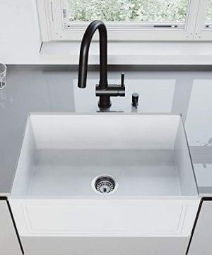 VIGO Crown VGRA2718SF 27 Inch Farmhouse Kitchen Sink Apron Front Single Bowl Composite Solid Surface Matte White Finish 0 3 300x360