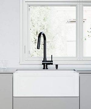 VIGO Crown VGRA2718SF 27 Inch Farmhouse Kitchen Sink Apron Front Single Bowl Composite Solid Surface Matte White Finish 0 300x360