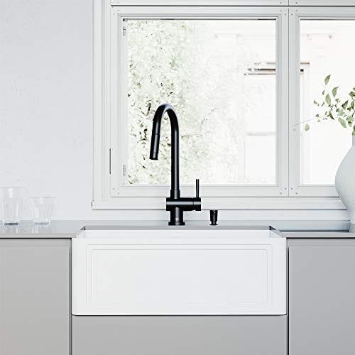 VIGO Crown VGRA2718SF 27-Inch Farmhouse Kitchen Sink, Apron Front Single  Bowl Composite Solid Surface, Matte White Finish