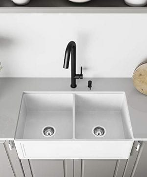 Vigo Crown Vgra3318blsf 33 Inch Farmhouse Kitchen Sink A Front Double Bowl Composite Solid Surface Matte White Finish