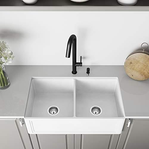 VIGO Crown VGRA3318BLSF 33-Inch Farmhouse Kitchen Sink, Apron Front Double  Bowl Composite Solid Surface, Matte White Finish