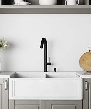 VIGO Crown VGRA3318BLSF 33 Inch Farmhouse Kitchen Sink Apron Front Double Bowl Composite Solid Surface Matte White Finish 0 300x360