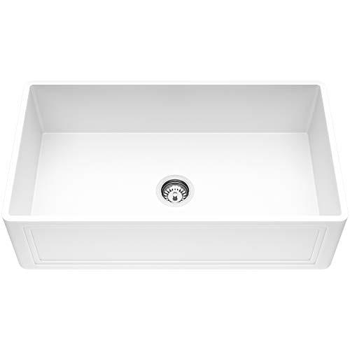 VIGO Crown VGRA3318SF 33 Inch Farmhouse Kitchen Sink Apron Front Single Bowl Composite Solid Surface Matte White Finish 0 0