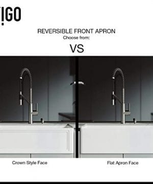 VIGO Crown VGRA3318SF 33 Inch Farmhouse Kitchen Sink Apron Front Single Bowl Composite Solid Surface Matte White Finish 0 1 300x360