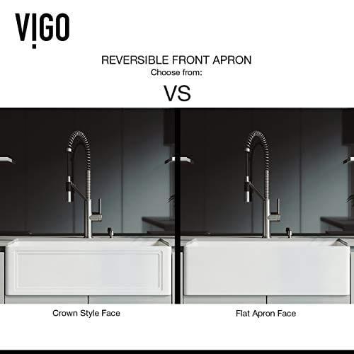 VIGO Crown VGRA3318SF 33 Inch Farmhouse Kitchen Sink Apron Front Single Bowl Composite Solid Surface Matte White Finish 0 1