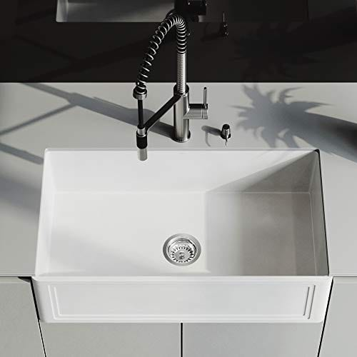 VIGO Crown VGRA3318SF 33 Inch Farmhouse Kitchen Sink Apron Front Single Bowl Composite Solid Surface Matte White Finish 0 3