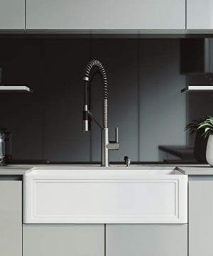 VIGO Crown VGRA3318SF 33 Inch Farmhouse Kitchen Sink Apron Front Single Bowl Composite Solid Surface Matte White Finish 0 300x360