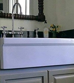 Whitehaus WHQ536 WHITE Farmhaus Quatro Alcove 36 Inch Reversible Fireclay Sink With Apron 0 2 300x333