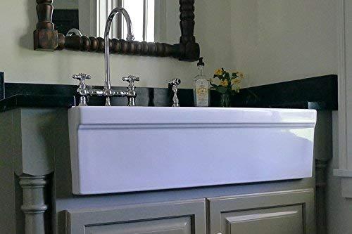 Whitehaus WHQ536 WHITE Farmhaus Quatro Alcove 36 Inch Reversible Fireclay Sink With Apron 0 2