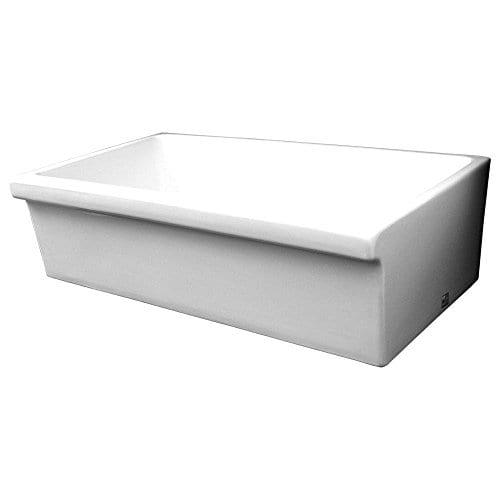 Whitehaus WHQ536 WHITE Farmhaus Quatro Alcove 36 Inch Reversible Fireclay Sink With Apron 0