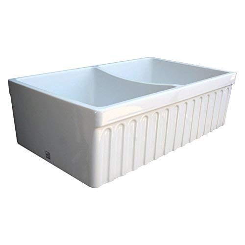 Whitehaus WHQDB332 WH Farmhaus Quatro Alcove 33 Inch Reversible Double Bowl Fireclay Sink With Fluted Front Apron White 0 0