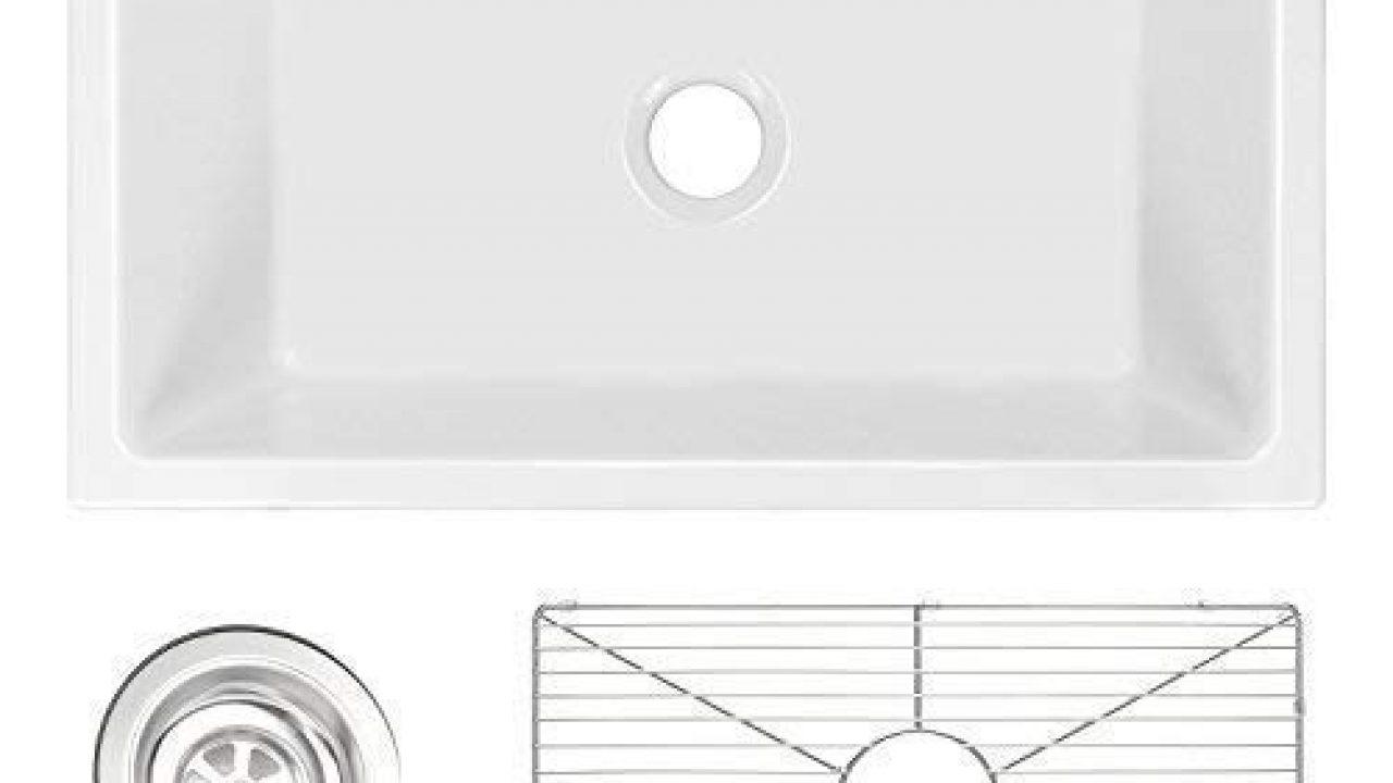 """24/"""" Reversible Apron ZUHNE Ostia White Farmhouse Single Bowl Fireclay Kitchen Sink"""