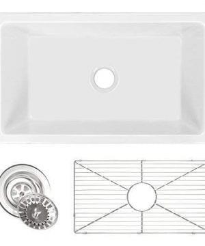 ZUHNE Ostia 30 Inch White Farmhouse Apron Single Bowl Fireclay Reversible Kitchen Sink With Grid Protector And Strainer 0 300x360