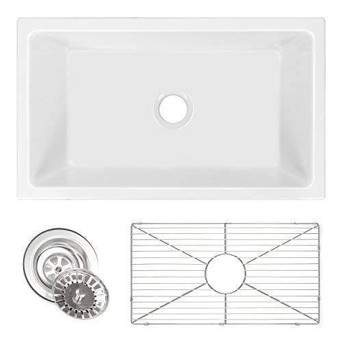 ZUHNE Ostia 30 Inch White Farmhouse Apron Single Bowl Fireclay Reversible Kitchen Sink With Grid Protector And Strainer 0
