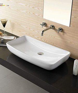24 Bathroom Porcelain Ceramic Vessel Sink CV7562Bno Overflow System FreePop Up Drain 0 300x360