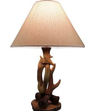 3 Entwined Antlers Rustic Table Lamp WFabric Shade 0 300x360