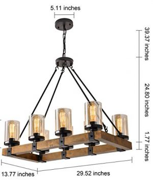 8 Light Wood Kitchen Farmhouse Chandelier Pendant Island Light Fixtures BlackBulb Not Included 0 2 300x360