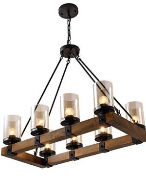 8 Light Wood Kitchen Farmhouse Chandelier Pendant Island Light Fixtures BlackBulb Not Included 0 3 300x360
