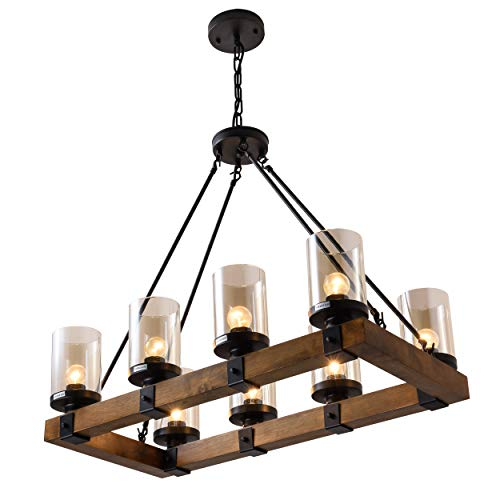8 Light Wood Kitchen Farmhouse Chandelier Pendant Island Light Fixtures BlackBulb Not Included 0 3