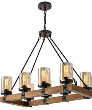 8 Light Wood Kitchen Farmhouse Chandelier Pendant Island Light Fixtures BlackBulb Not Included 0 300x360