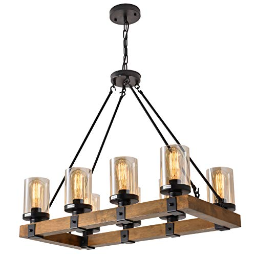 8 Light Wood Kitchen Farmhouse Chandelier Pendant Island Light Fixtures BlackBulb Not Included 0