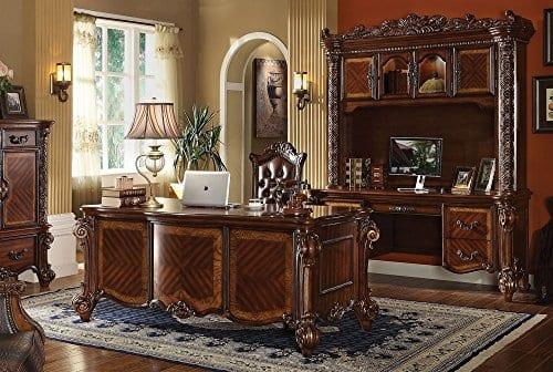 ACME Vendome Cherry Desk With Hutch 0 0