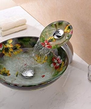 ANZZI Impasto Modern Tempered Glass Vessel Round Sink In Floral Hand Painted Mural Finish With Matching Chrome Trimmed Waterfall Lavatory Faucet LS AZ217 0 0 300x360
