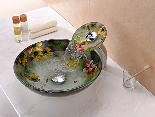 ANZZI Impasto Modern Tempered Glass Vessel Round Sink In Floral Hand Painted Mural Finish With Matching Chrome Trimmed Waterfall Lavatory Faucet LS AZ217 0 0