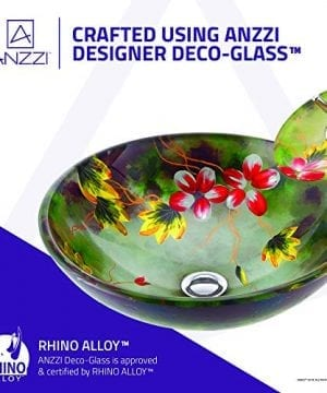 ANZZI Impasto Modern Tempered Glass Vessel Round Sink In Floral Hand Painted Mural Finish With Matching Chrome Trimmed Waterfall Lavatory Faucet LS AZ217 0 2 300x360
