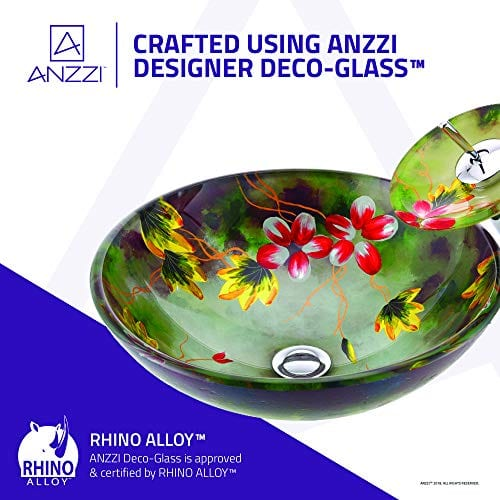 ANZZI Impasto Modern Tempered Glass Vessel Round Sink In Floral Hand Painted Mural Finish With Matching Chrome Trimmed Waterfall Lavatory Faucet LS AZ217 0 2