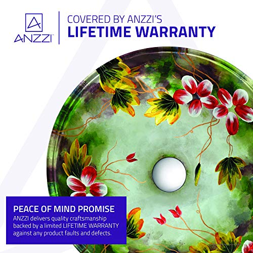 ANZZI Impasto Modern Tempered Glass Vessel Round Sink In Floral Hand Painted Mural Finish With Matching Chrome Trimmed Waterfall Lavatory Faucet LS AZ217 0 3