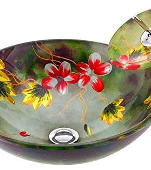 ANZZI Impasto Modern Tempered Glass Vessel Round Sink In Floral Hand Painted Mural Finish With Matching Chrome Trimmed Waterfall Lavatory Faucet LS AZ217 0 300x337