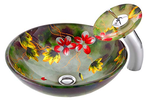 ANZZI Impasto Modern Tempered Glass Vessel Round Sink In Floral Hand Painted Mural Finish With Matching Chrome Trimmed Waterfall Lavatory Faucet LS AZ217 0