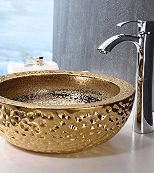 ANZZI Regalla 165 In X 165 In Modern Tempered Deco Glass Round Vessel Bathroom Sink In Stunning Speckled Gold Finish Lavatory Top Mount Installation Oval Toilet Sink LS AZ179 0 0 300x338
