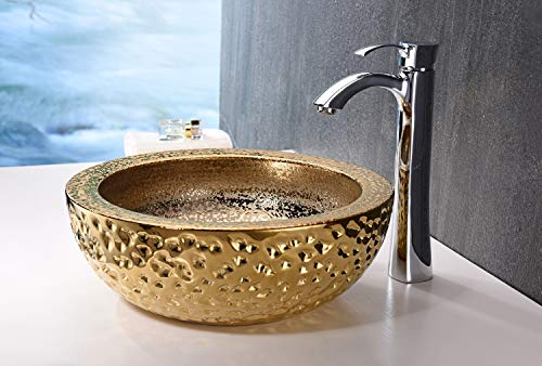 ANZZI Regalla 165 In X 165 In Modern Tempered Deco Glass Round Vessel Bathroom Sink In Stunning Speckled Gold Finish Lavatory Top Mount Installation Oval Toilet Sink LS AZ179 0 0