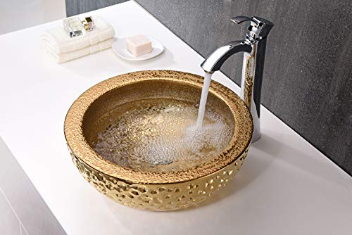 ANZZI Regalla 165 In X 165 In Modern Tempered Deco Glass Round Vessel Bathroom Sink In Stunning Speckled Gold Finish Lavatory Top Mount Installation Oval Toilet Sink LS AZ179 0 1