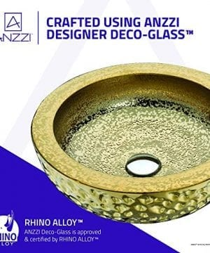 ANZZI Regalla 165 In X 165 In Modern Tempered Deco Glass Round Vessel Bathroom Sink In Stunning Speckled Gold Finish Lavatory Top Mount Installation Oval Toilet Sink LS AZ179 0 2 300x360