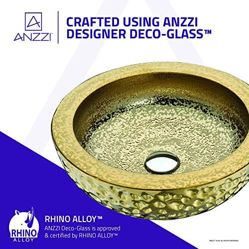 ANZZI Regalla 165 In X 165 In Modern Tempered Deco Glass Round Vessel Bathroom Sink In Stunning Speckled Gold Finish Lavatory Top Mount Installation Oval Toilet Sink LS AZ179 0 2