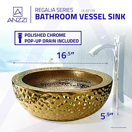 ANZZI Regalla 165 In X 165 In Modern Tempered Deco Glass Round Vessel Bathroom Sink In Stunning Speckled Gold Finish Lavatory Top Mount Installation Oval Toilet Sink LS AZ179 0 4