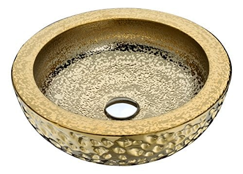 ANZZI Regalla 165 In X 165 In Modern Tempered Deco Glass Round Vessel Bathroom Sink In Stunning Speckled Gold Finish Lavatory Top Mount Installation Oval Toilet Sink LS AZ179 0