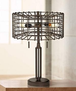 Adam Industrial Accent Table Lamp LED Edison Bulb Deep Bronze Metal Cage Shade For Living Room Family Bedroom Franklin Iron Works 0 300x360